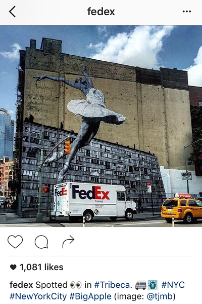 Instagram caption with emojis by FedEx