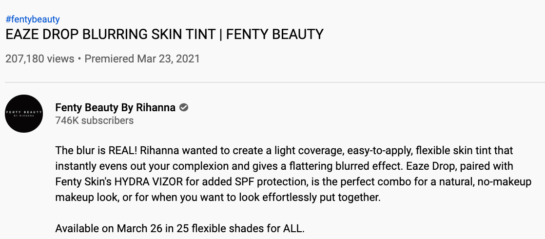 fenty beauty's youtube description, using casual brand voice.