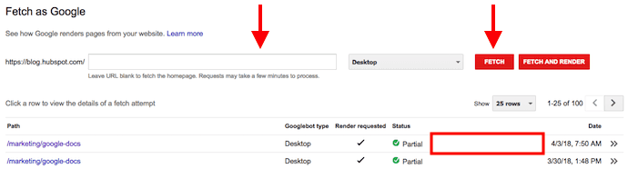 Fetch as Google table in Google Search Console with previous website fetch requests