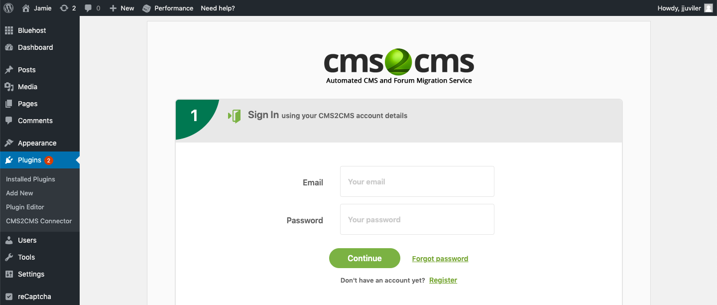 fill in account info in CMS2CMS plugin when converting Wix to wordPress