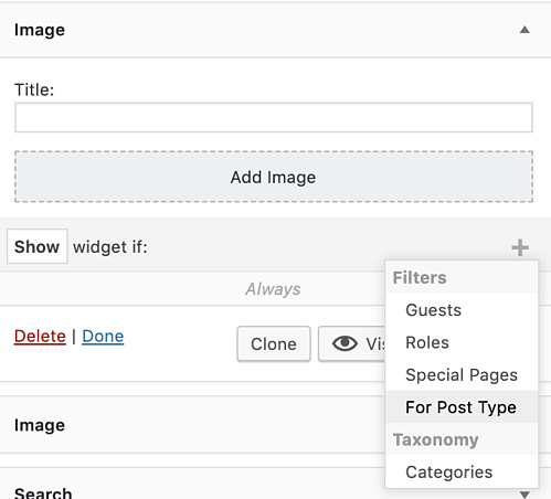 filter options in custom sidebars to add widget to WordPress page