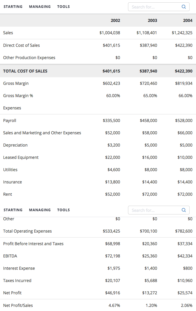 Financial projections in a business plan example