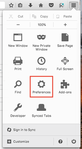 Preferences icon in settings menu in Firefox browser