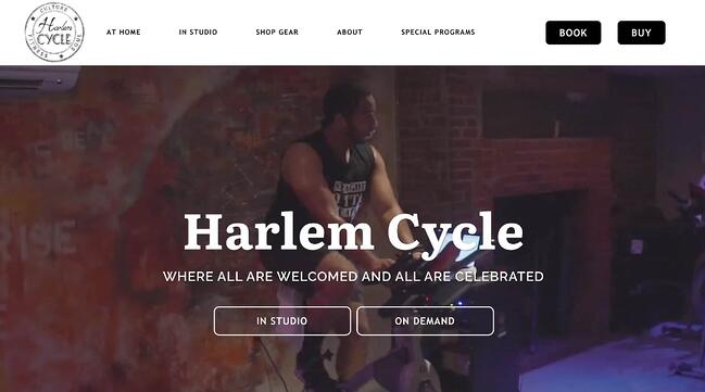 fitness website example: Harlem Cycle