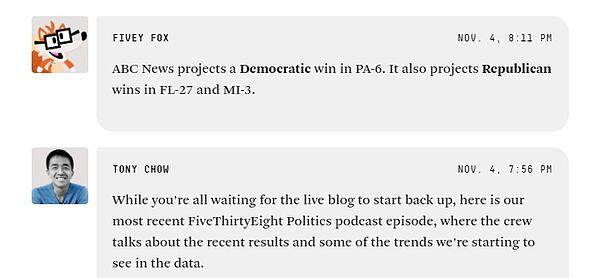 fivethirtyeight microblog for election coverage