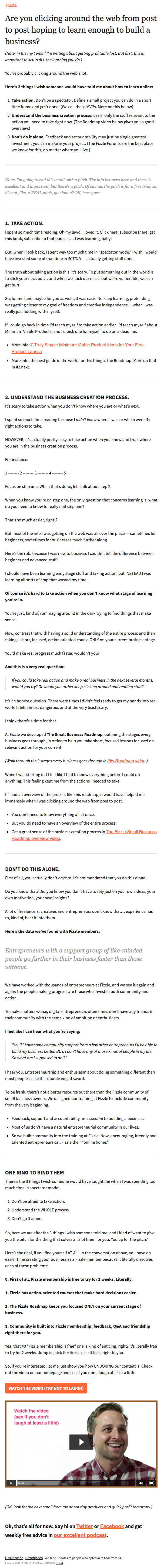 Email newsletter example design with entrepreneurship tips by Fizzle