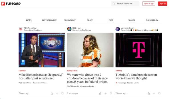 سایت تجمیع محتویات وبلاگ flipboard