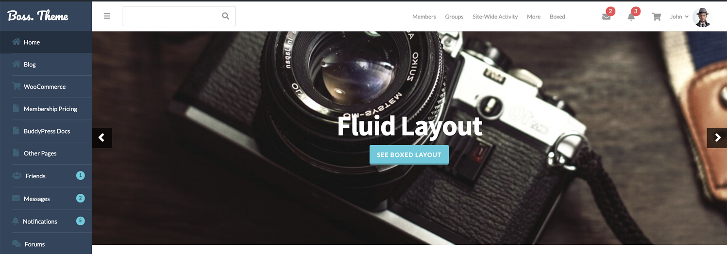 fluid layout for boss theme review