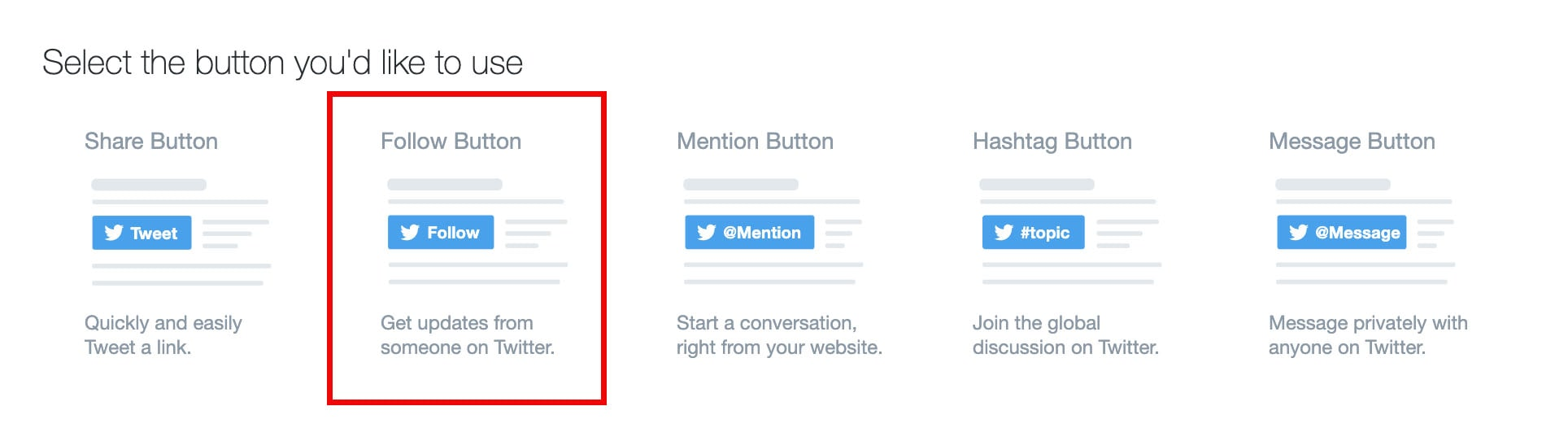 twitter buttons option on twitter's developer page
