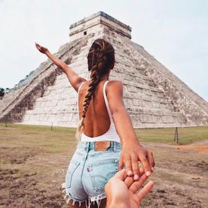 FollowMeTo Instagram account showing Chichen Itza