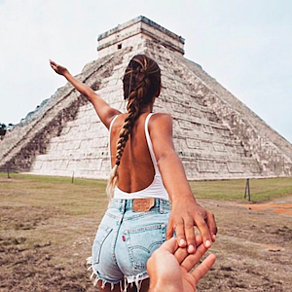 FollowMeTo Instagram account showing Chichen Itza