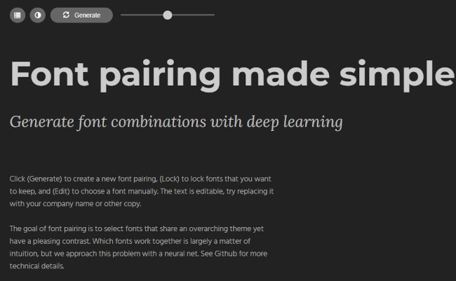 fontjoy design tool for font pairings