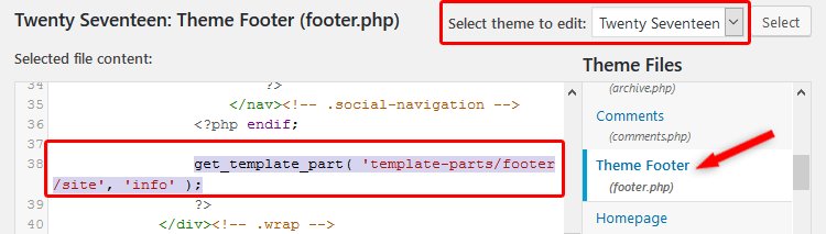 footer.php code on how to edit footer in WordPress