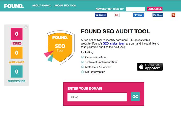 Found's SEO Audit tool