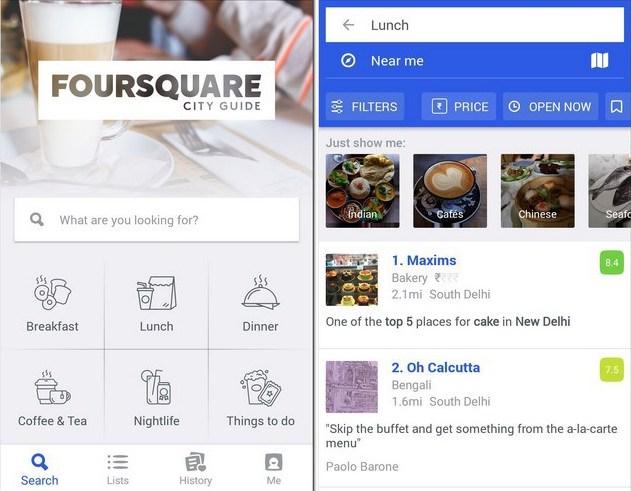 Foursquare city guide mobile app