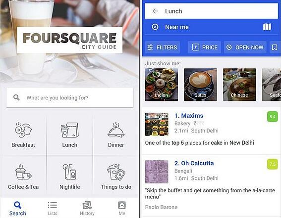 Foursquare city guide mobile app