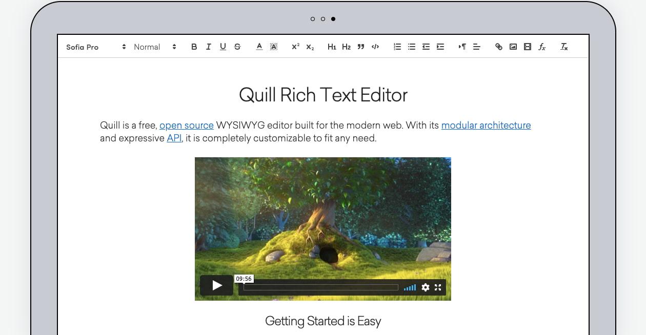 free Quill WYSIWYG editor