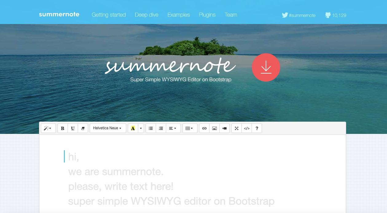 free Summernote  WYSIWYG editor