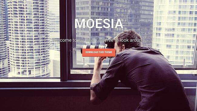 free parallax theme Moesia features hero image with bright CTA button