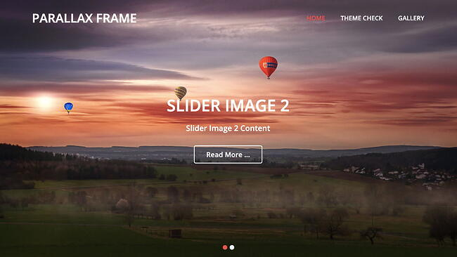 free parallax theme Parallax Frame features image slider and CTA button outline