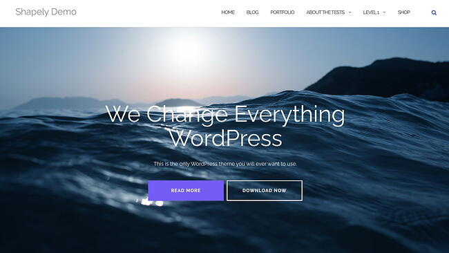free parallax theme Shapely features image with two CTA buttons