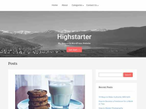 free parallax theme highstarter features hero image and blog layout with sidebar