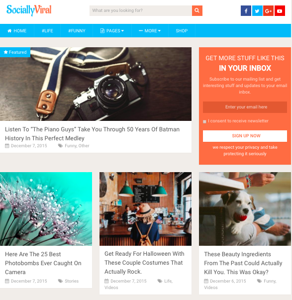 free responsive WordPress theem SociallyViral features a grid of posts