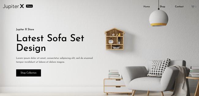 free responsive WordPress theme JupiterX Lite demo of ecommerce furniture store