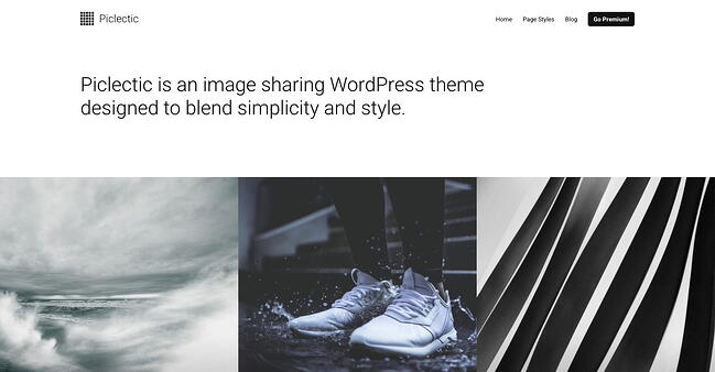 free responsive WordPress theme Piclectic features image grid