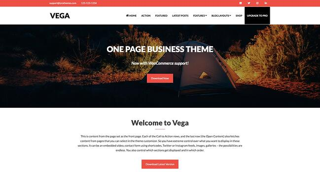 free responsive WordPress theme Vega
