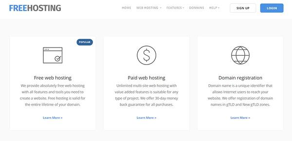 """the freehosting.com homepage that reads """"free web hosting, paid web hosting, and domain registration"""""""