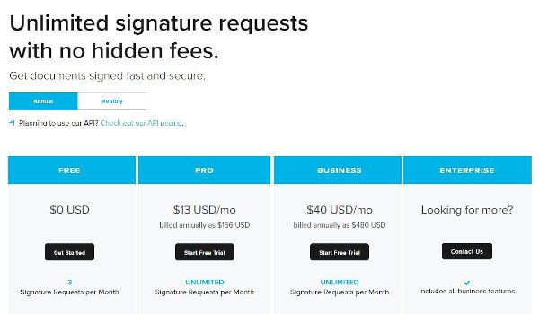 "free trial example from hellosign that reads ""unlimited signature requests with no hidden fees"" and has four pricing tiers, one that's free and two that offer free trials"