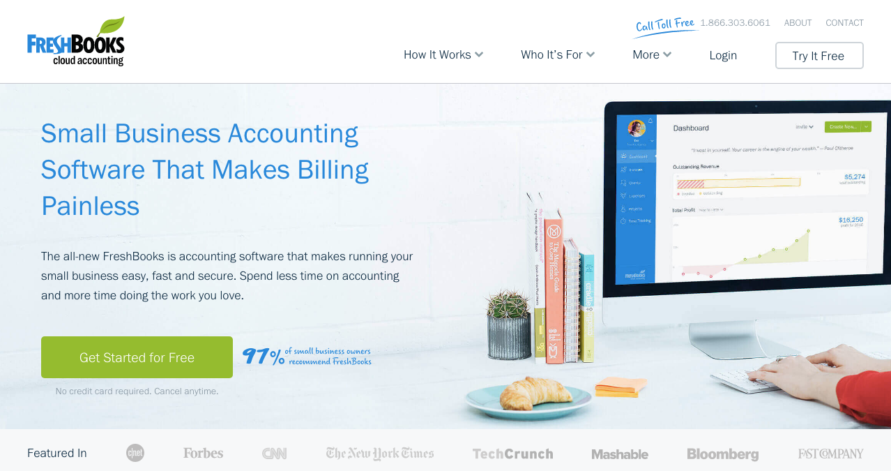Freshbooks homepage web design