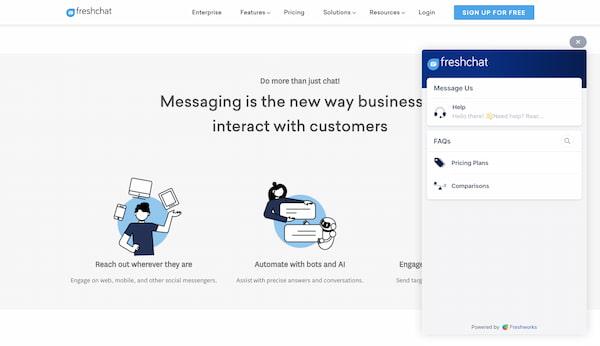 Freshchat live chat app widget on the Freshchat website
