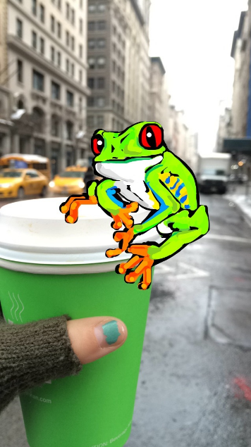 Amazing Snapchat drawing of frog on coffee cup