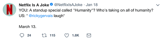 netflix is a joke tweet to ricky gervais