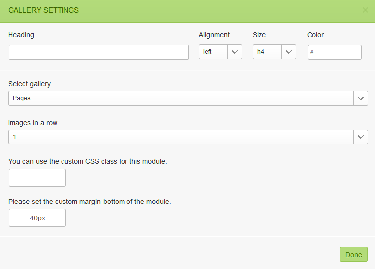 Gallery module settings in GT3 Page Builder