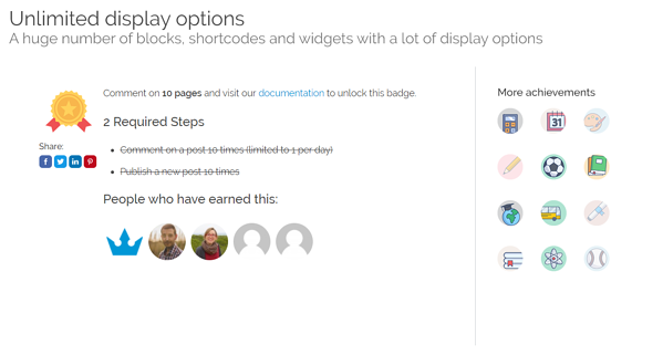 demo user badge displays on gamipress plugin