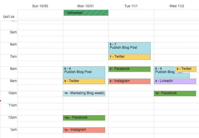 Social media calendar organized on Google Calendar