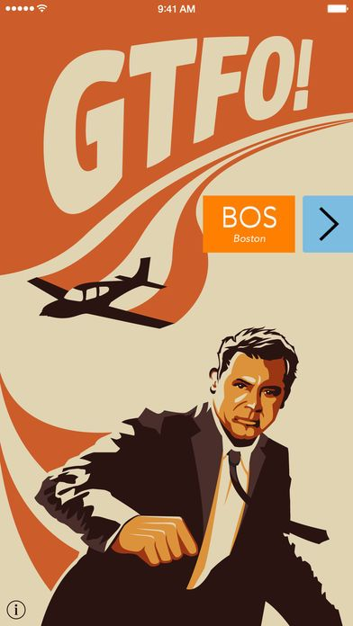 Get the flight out mobile app home screen