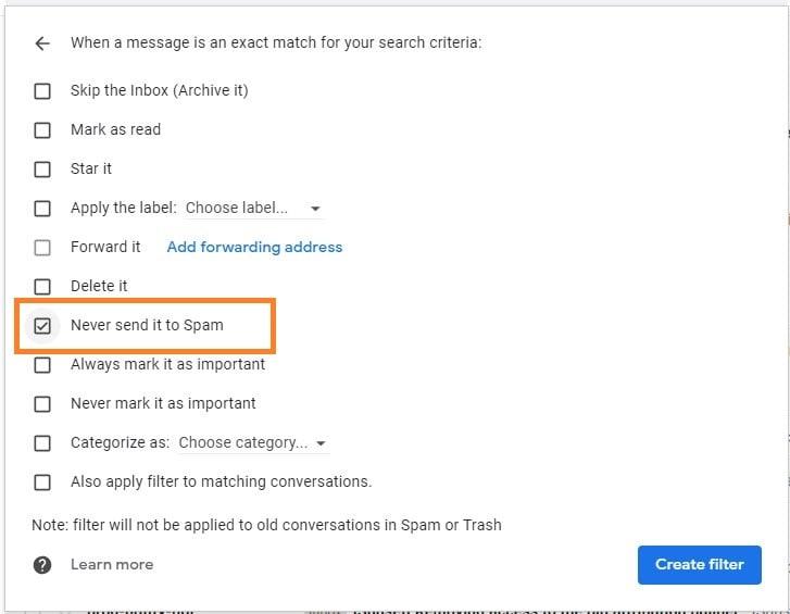 gmail never send to spam checkbox