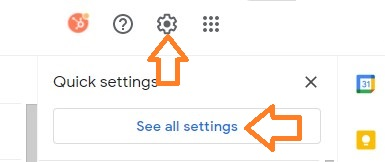 gmail gear icon and quick settings menu