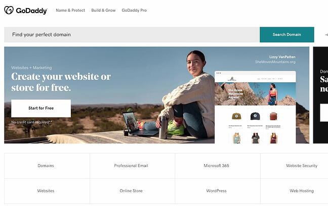GoDaddy blog hosting site home page