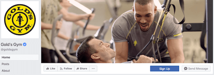 Gold's Gym Facebook Business Page