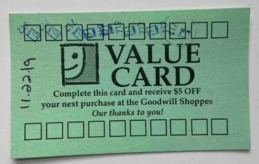 goodwill physical punch card example