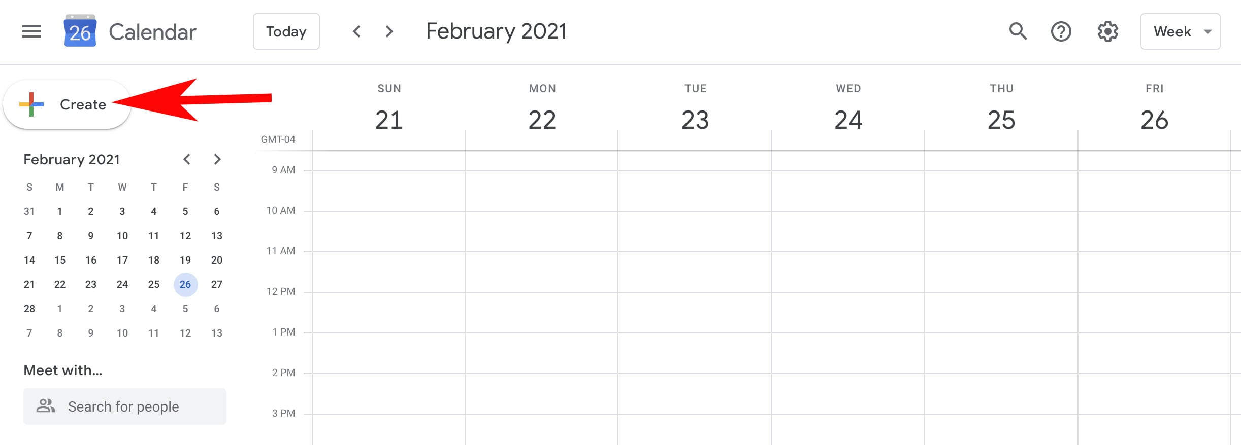 google calendar homepage with arrow pointing to create button