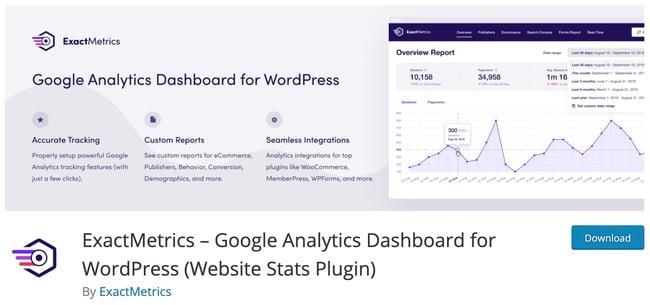 product page for the wordpress analytics plugin exactmetrics