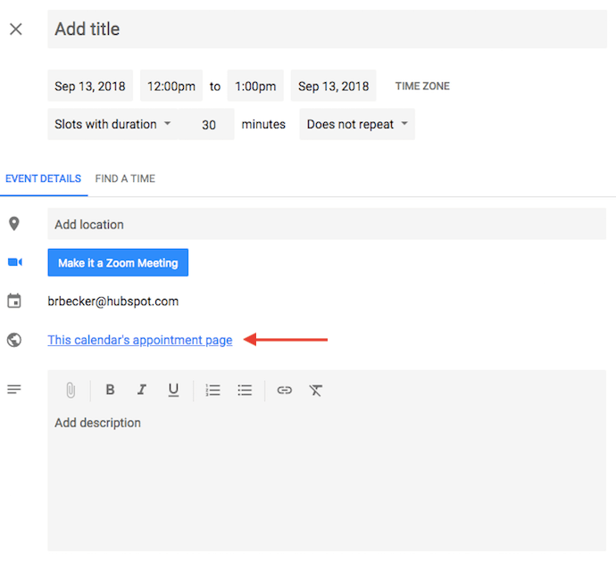 Link to a Google Calendar's appointment page