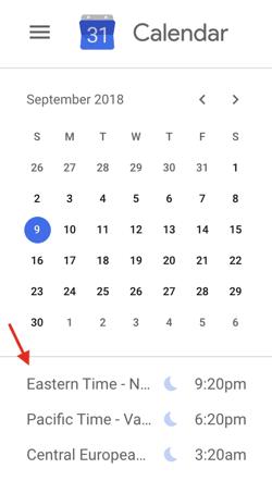 google-calendar-dünya saati
