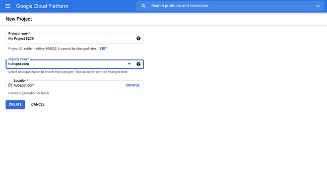 New project form in Google Developer Console